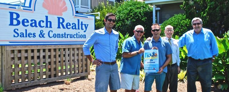 Beach Realty's Jason and Jimbo Ward (left to right) are pictured with Relief Foundation volunteers Matt McKenna and Frank Ausband and foundation director Chris Kelley at Beach's Kitty Hawk offices.